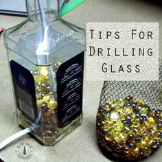 Tips for drilling a Glass Bottle - Here is a great reader email I would like to share with you regarding drilling holes Alcohol Bottle Crafts, Liquor Bottle Crafts, Wine Bottle Art, Alcohol Bottles, Cutting Glass Bottles, Recycled Glass Bottles, Bottle Cutting, Cut Bottles, Wine Bottle Centerpieces