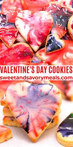 Valentine's Day Cookies are soft and buttery with delicious marble icing on the top. #cookies #valentinesday #valentinesdaycookies #heartcookies #sweetandsavorymeals Easy Cookie Recipes, Healthy Dessert Recipes, Fun Desserts, Healthy Snacks, Valentines Day Cookies, Valentines Food, Valentines Recipes, Funny Valentine, Pastry And Bakery