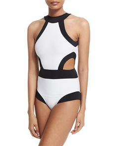 Holly+High-Neck+Cutout+One-Piece+Swimsuit+by+OYE+Swimwear+at+Neiman+Marcus.