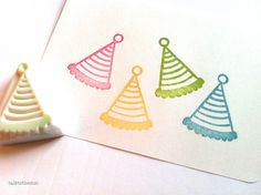 party hat rubber stamp. hand carved rubber stamp. door talktothesun, $8.00