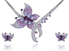Purple Lavender Fly Butterfly Swarovski Crystal Rhinestone Necklace Earring Set Alilang, http://www.amazon.com/dp/B005M96Z0I/ref=cm_sw_r_pi_dp_1sjhrb1F5Z7Z6