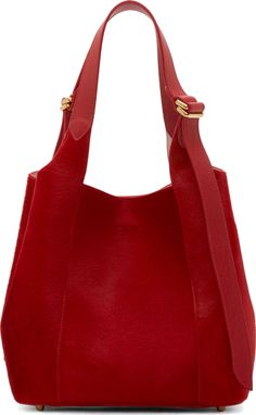 Nina Ricci: Red Calf-Hair Small Faust Tote | SSENSE