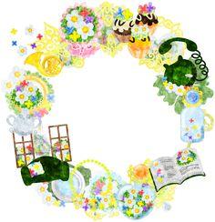 フリーのイラスト素材小さな花の雑貨で作られたリース Free Illustration The wreath of miscellaneous goods of small flowers Scrap, Illustrations, Illustration, Illustrators