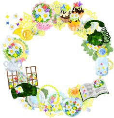 フリーのイラスト素材小さな花の雑貨で作られたリース  Free Illustration The wreath of miscellaneous goods of small flowers