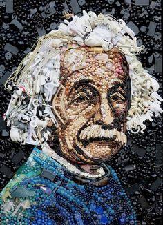 Une sélection des portraits de l'artiste anglaiseJane Perkins, réalisés entièrement grâce desmilliers d'objets trouvés ! Boutons, dés, jouets, billes