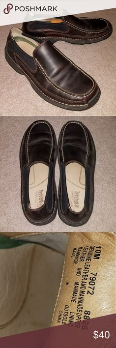 Timberland chocolate brown slip on shoes Timberland Smart Comfort System leather shoes in chocolate brown. Small scuff on right heel. These have been worn but are still very comfortable and in good shape. Timberland Shoes Loafers & Slip-Ons