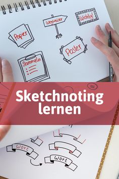 Learn Sketchnoting - No more fear of flipcharts, whiteboards or public sketches! In my online course I would like to sho - Baby Scrapbook, Scrapbook Cards, Karten Diy, Sketch Notes, Scrapbook Designs, Bullet Journal Ideas Pages, Bookbinding, Word Art, Digital Scrapbooking