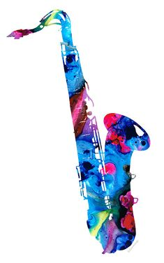 Colorful Saxophone 2 By Sharon Cummings Painting  - Colorful Saxophone 2 By Sharon Cummings Fine Art Print