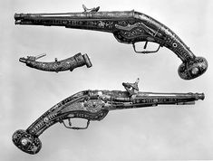 Decoration on the stocks copied in part from engravings by Étienne Delaune | Pair of Wheellock Pistols with Matching Priming Flask/Spanner | French | The Met