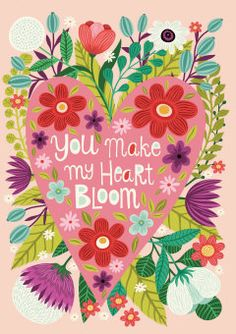Roger la Borde | 'You make my heart bloom' romantic Greeting Card by Helen Dardik
