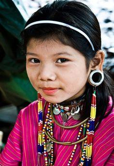Myanmar | Portrait of a Gayo (Kayaw) Karen girl taken in their small refugee village on the Thai / Burmese border. | ©BoazImages