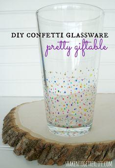 Pretty #DIY confetti glassware!  Easy how-to at shakentogetherlife.com
