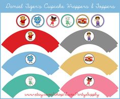 DIY PDF Printable Daniel Tiger's Neighborhood Cupcake Wrappers and Cupcake Toppers, Birthday Party.