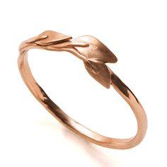 Leaves Ring - 18K Rose Gold Ring, unisex ring, wedding ring, wedding band, leaf ring, filigree, antique,art nouveau,vintage,organic,recycled