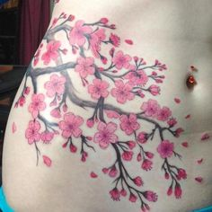 125 Best Cherry Blossom Tattoos of 2020 - Wild Tattoo Art - The cherry tree is a beautiful tree with pink or white blossoms. China and Japan have many of these - Unique Tattoos For Women, Sleeve Tattoos For Women, Trendy Tattoos, Tattoo Life, Wild Tattoo, Tattoo Art, Kunst Tattoos, Neue Tattoos, Flor Tattoo
