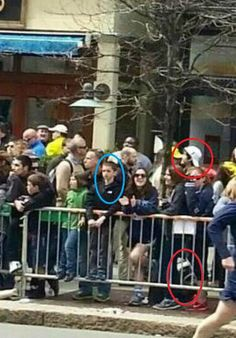 The disturbing picture shows the 8 year olf victim, Martin Richard, standing near the suspect of the Boston Bombing, Dzhokhar A. Tsarnaev.