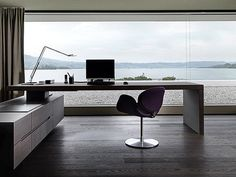 Office & Workspace, Home Office Table Arrangement for Outsmarting Small Workspace: Picturesque Minimalist Home Desk Cabinet Compact Setup With Spacious Beach Sceneric View