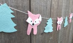 Pink Fox Peppermint Forest Garland, Fox Bunting, Fox Gift, Fox Nursery, Woodland Nursery Garland, Pink and Peppermint decor, Fox Baby Shower by FeltWitch on Etsy