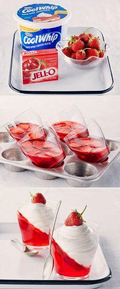 Popular Pinterest: Coolwhip, Strawberrys and Jello fast desert recipe