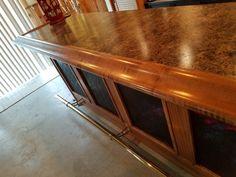 Finished Bar Gallery - Hardwoods Incorporated Basement Bar Plans, Basement Bar Designs, Home Bar Designs, L Shaped Bar, Maple Bars, Chicago Bars, Bar Rail, Fluted Columns, Bar Dimensions