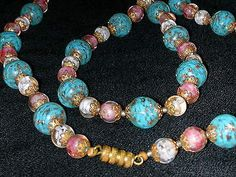 Vtg 1940/50's 55in Murano Venetian Glass Lampwork Bead Necklace w Earrings Set in Jewelry & Watches, Vintage & Antique Jewelry, Costume, Retro, Vintage 1930s-1980s, Sets | eBay