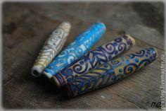 Для украшений ручной работы. Ярмарка Мастеров - ручная работа длинные бусины с узором. Handmade.