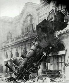 A french train crash in french a train is called le train. It relates to train travel because it's a train.  OUCH !!!!!!