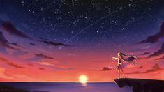 Konachan.com - 201237 animal barefoot bird blonde_hair clouds hatsune_miku long_hair scenic sky stars summer_dress sunset twintails vocaloid water watermark.jpg (3840×2160)
