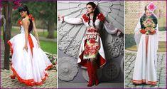 Сватбени рокли в славянски стил: модели и стилове на древни костюми със снимка Wedding Styles, Character Design, Kimono Top, Culture, Bride, Wedding Dresses, Skirts, Clothes, Outfits