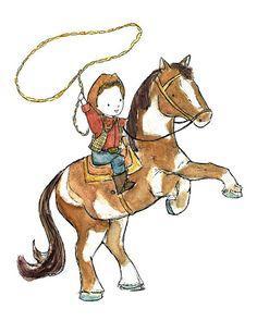 Kinder Kunst  'Em Ride CowboyKunstdruck