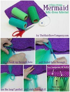 Criss-Cross Mermaid Dress Tutorial & Supplies. How to make a mermaid tail style tutu dress.