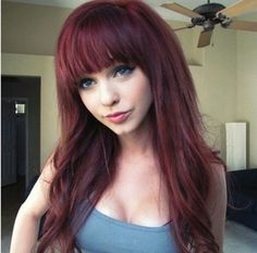 Long Hair With Straight Across Bangs - Yahoo Image Search Results Pony Hairstyles, Fringe Hairstyles, Hairstyles With Bangs, Pretty Hairstyles, Hairstyle Short, Natural Hairstyles, Haircuts, Dark Red Hair, Burgundy Hair