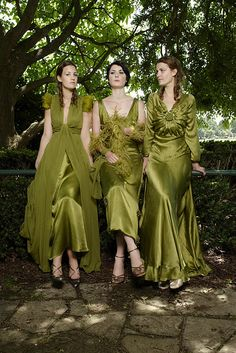 Green dresses! Would be cute for bridesmaids or for mother or grandmother of bride or groom.