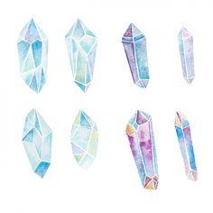 Watercolor crystals collection Free Vector