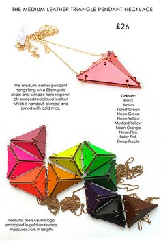 triangle necklaces in color