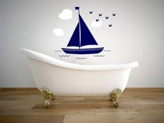 Sailboat with Clouds and Birds Nautical Wall Vinyl Decal Wall Graphics Bedroom Home Wall Decor This sailboat wall decal will add flair to any room in your home. Monogram Wall Decals, Custom Wall Decals, Wall Vinyl, How To Make Notes, Home Wall Decor, Interior Walls, Clawfoot Bathtub, Sailboat, Nautical