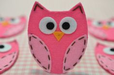 Set of 6pcs handmade felt owldark carnation/baby pink by AsecInc