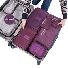 ARPIEL 6 Set Travel Organizer - for Men and Women - Large Packing Cubes Insert Handbag Organizer - for Clothes, Electronics, Cosmetics, Jewelry, Accessories, Souvenirs - Luggage Pouches and Cubes (Burgundy)