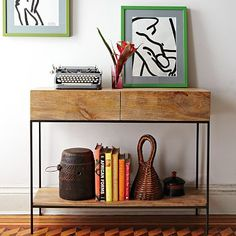 Rustic Storage Console on westelm.com. -- Practical storage, plus beautiful clean-lined, rustic finish. Love.