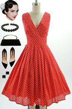 2df9e7c329697 Style Red White Polka Dot Bombshell Pinup Surplice Sun Dress w Full Skirt