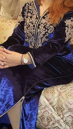 See related links to what you are looking for. Moroccan Caftan, Moroccan Style, Kaftan, Indian Designer Wear, Traditional Dresses, Bomber Jacket, Womens Fashion, Blouse, Casual