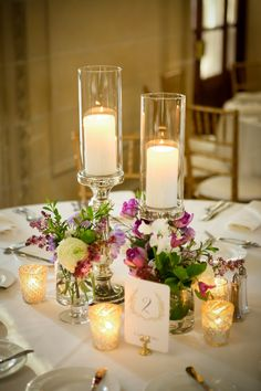 Mercury Pillar Candles with Spring Floral Bud Vases