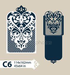 Descargar - Envolvente de felicitación de plantilla con el patrón calado tallado — Ilustración de stock #112244962