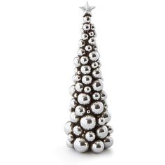 Silver 13 Christmas Ball Tree (40 CAD) ❤ liked on Polyvore featuring home, home decor, holiday decorations, christmas, silver, christmas holiday decor, silver home accessories, christmas home decor, christmas holiday decorations and silver home decor