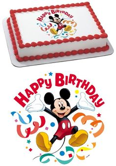 Mickey Mouse Clubhouse Streamers Edible Cake Topper Decoration - Edible cake toppers are a creative, fun way to personalize your homemade or bakery style cakes. The toppers is rectangle (7.5x10) and fits nicely on 1/4 sheet cakes or centered on 1/2 sheet cakes. ... - Cake Supplies - Office Products - $3.90