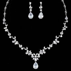 "Bridal Jewelry Sets – CZ Earrings and Necklace – ""Angela"" Brautschmuck-Sets – CZ Ohrringe und Halskette – ""Angela"" – Tyale Store Prom Jewelry, Bridesmaid Jewelry Sets, Wedding Jewelry Sets, Jewelery, Jewelry Necklaces, Bridal Jewellery, Jewellery Box, Wedding Necklaces, Wedding Dress Necklace"