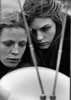 Vogue Italy Editorial October 1998 - Angela Lindvall & Tanga Moreau by Peter Lindbergh
