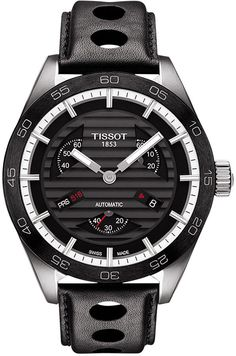Tissot Men's Swiss Automatic Chronograph PRS 516 Black Leather Strap Watch 42mm T1004281605100