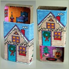 diychristmascrafts:    DIY Winter House Upstairs Downstairs Matchbox Tutorial and PDF Download from Homemade City here. Last year I posted her cute house matchbox here. The decoration continues on the sides and back of the matchboxes.  For more matchbox projects and potential matchbox gifts go here: truebluemeandyou.tumblr.com/tagged/matchbox