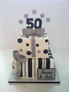 Black & Silver 50th Birthday Cake cute for a wedding cake